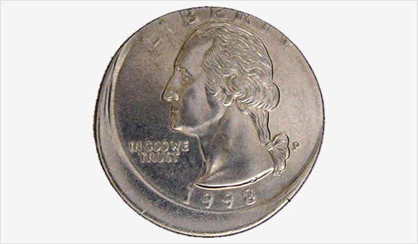 An example of an off center error coin