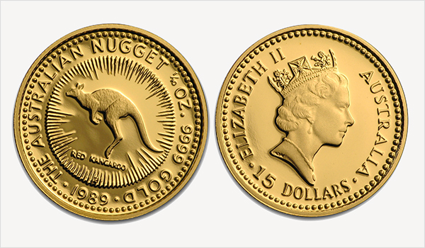 1989 proof Gold Nugget coin features a hopping Red Kangaroo