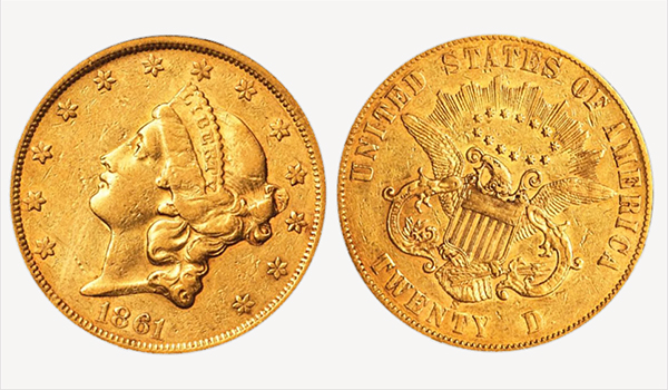 1861 Liberty Head $20 Gold Coin