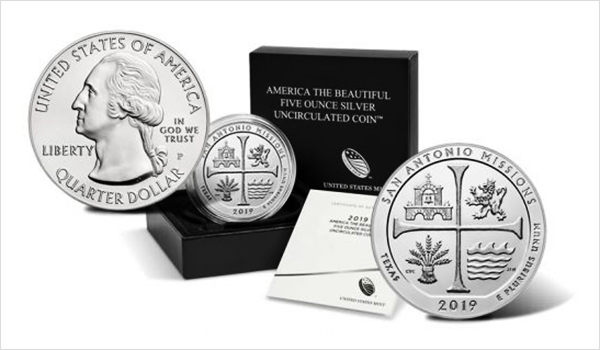Uncirculated 2019-P San Antonio Missions National Historical Park Five Ounce Silver Coins