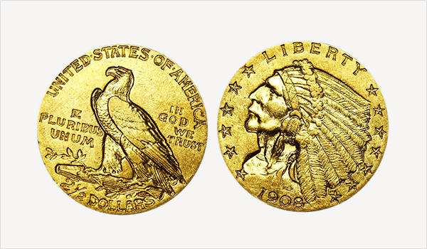 1908 Indian Head Gold $2.50 Quarter Eagle Gold Coins